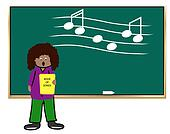 ethnic woman teaching music class -illustration