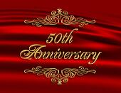 50Th wedding anniversary invitation red
