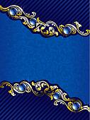Elegant gold and blue background with gems, vertical