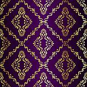 Gold on Purple seamless swirly Indian pattern