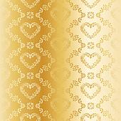 Victorian gold silk wedding pattern with hearts