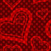 Red seamless rose and heart pattern