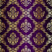 Intricate Gold on Purple seamless sari pattern