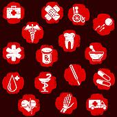 Grungy red medical buttons