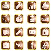 Square brown high gloss office buttons