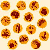 Retro tropical grunge buttons in warm tones