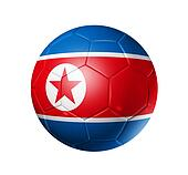 Soccer football ball with north Korea flag