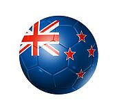 Soccer football ball with New Zealand flag