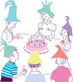 Happy Birthday celebration with kids children