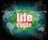 life cycle words on digital touch screen
