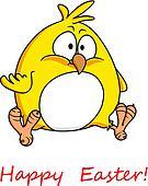Fat yellow chicken wishing you Happy Easter