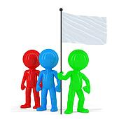 Team of coloured people holding flag. Isolated. Contains clipping path