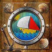 Metal Porthole with Sailboat