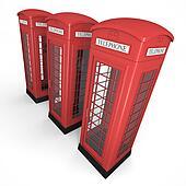 Three phone booths