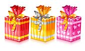 set of packaged holiday gifts with bow