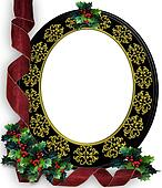 Christmas ribbons photo frame border