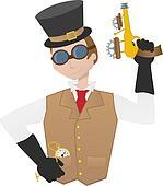 Steampunk man holding ray gun gear and goggles victorian cartoon guy