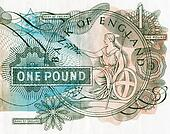 Close-up of an old English bank note