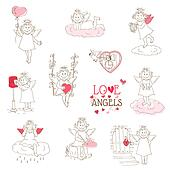 Set of cute Angels and Cupids - Love, Wedding, Valentine's Theme - in vector