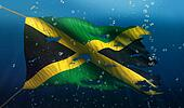 Jamaica Under Water Sea Flag National Torn Bubble 3D
