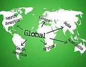 Global World Indicates Globe Globalise And Globalization