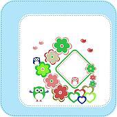 owl, flower pattern for kids, invitation card