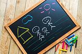 Draw sweet home on black board