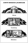 collage of 3 art deco labels dedicated to kitchen and cooking