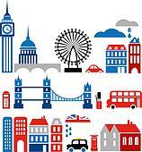 Vector illustration of London landmarks