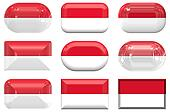 nine glass buttons of the Flag of Indonesia