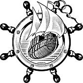 Ship & wheel_engraving