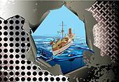 steel background with warhip