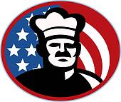 American Chef cook baker with stars and stripes set inside a circle