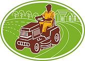 male gardener riding lawn mower set inside an oval.