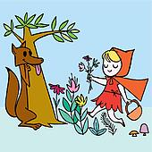 Little Red Riding Hood Scene vector illustration cartoon