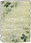 old rough antique parchment paper scrolls with shamrock