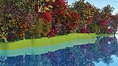 3D colourful trees by riverside