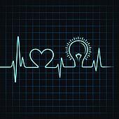 heartbeat make heart and light-bulb