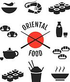 Vector oriental japanese food icons