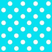 White Polka Dot on turquoise background