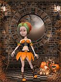 Beautiful toon pumpkin girl