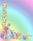Easter Border ribbons bunnies