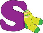 Letter S with a pair of socks