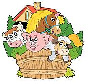 Group of farm animals