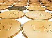 gold 1$ coin carpet on white