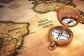 Compass and old map