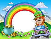 Rainbow frame with leprechaun in car