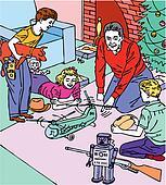christmas family presents toys vector illustration