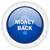 money back icon, circle blue glossy internet button, web and mobile app illustration
