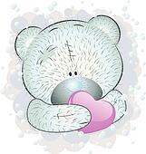 Blue teddy bear with heart